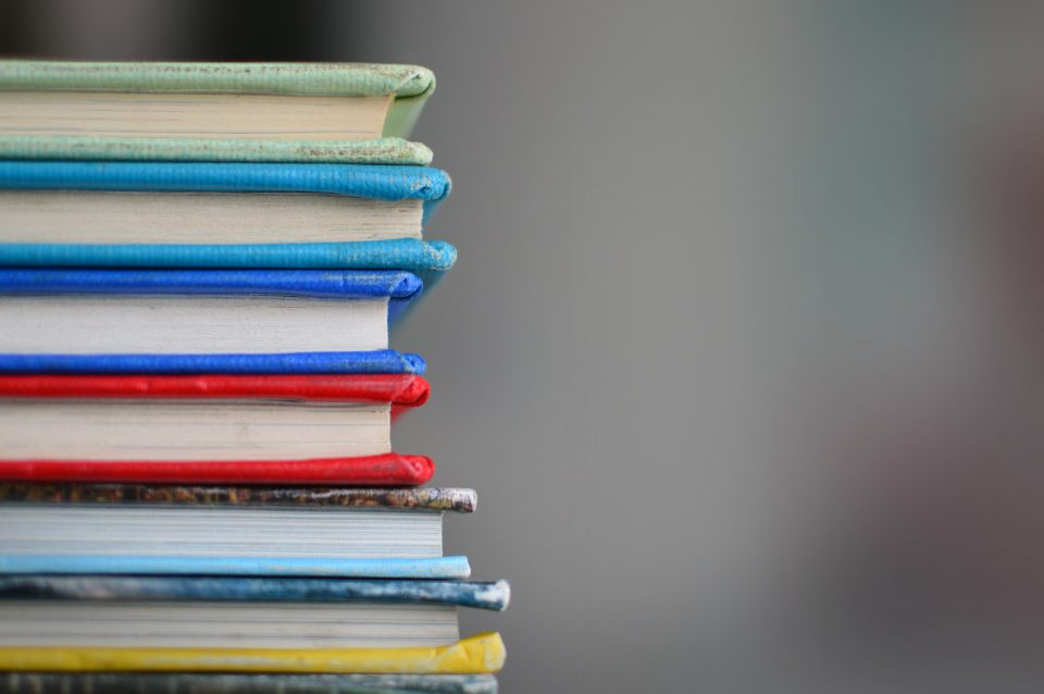 an image of colorful book spines